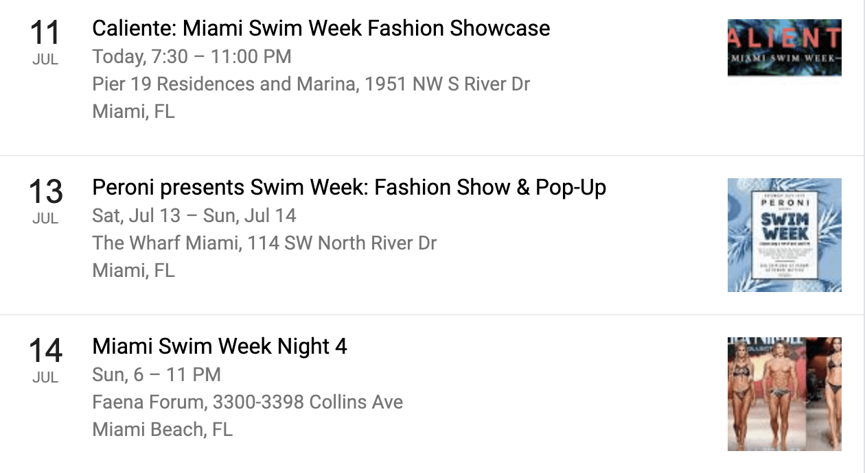 Miami Swim Week 2019 Events